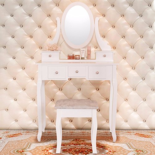 White Vanity Makeup Dressing Table Wood Desk Set w/Stool ,5 Drawers & Mirror by Tumsun