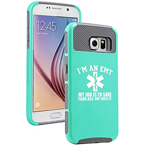 Samsung Galaxy S7 Shockproof Impact Hard Soft Case Cover EMT My Job Is To Save You (Teal-Gray) Sales