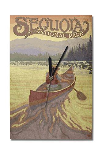 (Lantern Press Sequoia National Park - Canoe Scene (10x15 Wood Wall Clock, Decor Ready to Hang))