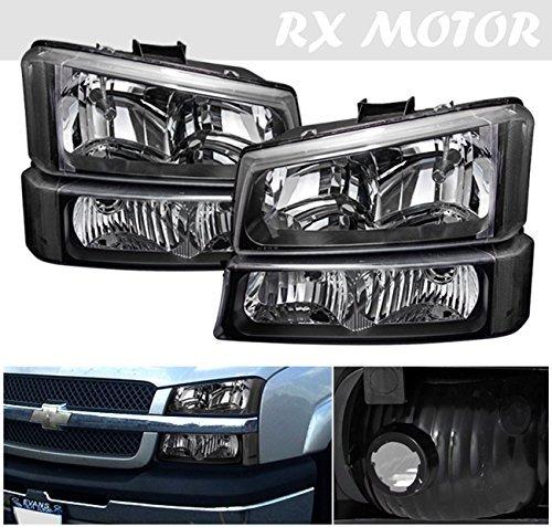 03-06 Silverado Avalanche Black Clear Head Lights + Bumper Corner Signal Lamps (06 Avalanche Headlights compare prices)