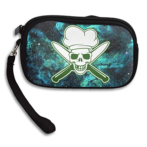 Skull Chef Green Coin Pouch Clutch Purse Wristlet