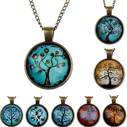 Doinshop New Useful Cute Nice Life Tree Pendant Necklace Art Tree Glass Cabochon Bronze Necklace