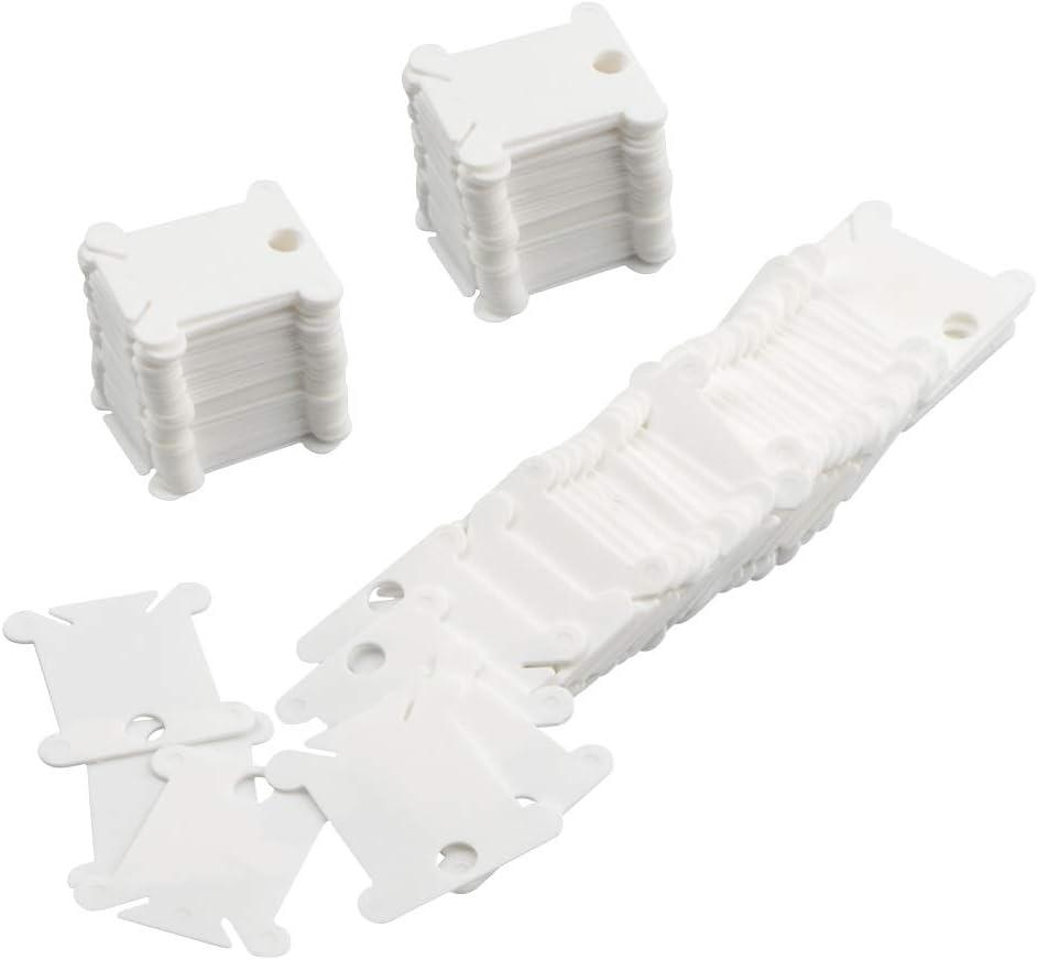 CCMART 120 Piezas plástico Floss bobinas para Punto de Cruz Bordado Hilo de algodón Manualidades DIY Almacenamiento de Costura, Blanco