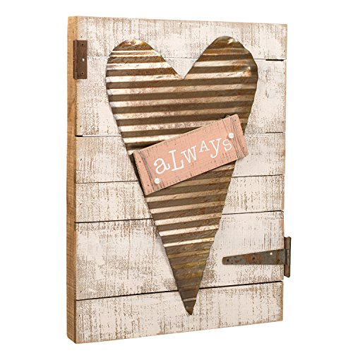 Whitewashed Galvanized Heart on Pallet Wood Decorative Sign