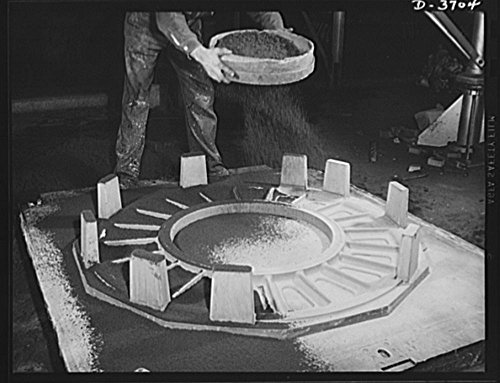 1942 Photo Sprinkling sand on the face of a mold before applying flask. Another step in the long and intricate process of producing aluminum parts for use by Uncle Sam's mechanized forces. Aluminum Industries Location: Cincinnati, Hamilton County, Ohio