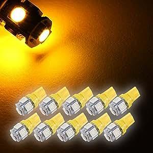 Zone Tech 10x 194 168 2825 5-smd YELLOW AMBER High Power SUPER BRIGHT LED Car Lights Bulb