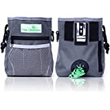 Pfote Lifestyles – Dog Treat Training Pouch – Easily Carries Pet Toys, Kibble, Treats – Built-in Poop Bag Dispenser – 3 Ways to Wear – Grey