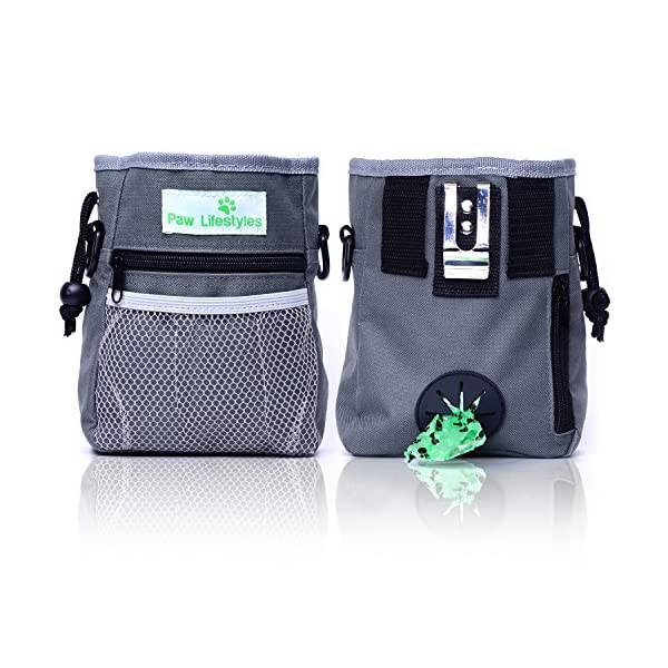 Paw Lifestyles – Dog Treat Training Pouch – Easily Carries Pet Toys, Kibble, Treats – Built-in Poop Bag Dispenser – 3 Ways to Wear – Grey