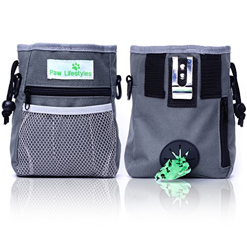 Paw Lifestyles – Dog Treat Training Pouch – Easily Carries Pet Toys, Kibble, Treats – Built-In Poop Bag Dispenser – 3 Ways To Wear – Grey (Magnetic Pet Collar)