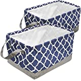 Sorbus Storage Basket Bin Set, Collapsible Rectangular Fabric Storage Organizer Basket with Drawstring Closure & Carry Handles for Laundry, Toys, Clothes, and more, 2-Pack (Blue Pattern)