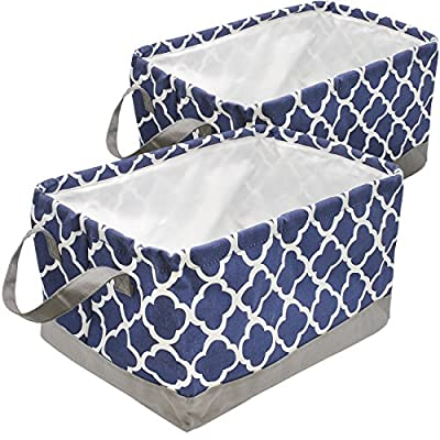 Sorbus Storage Basket Bin Set, Collapsible Rectangular Fabric Storage Organizer Basket with Drawstring Closure & Carry Handles for Laundry, Toys, Clothes, and more, 2-Pack (Blue Pattern) - STORAGE BASKET BINS (2-PACK, BLUE/WHITE) - Collapsible basket set with drawstring closure provides attractive, lightweight solutions to many storage needs while keeping household items tidy and organized STORE & ORGANIZE - Perfect storage basket for toys, magazines, books, CDs/, Gadgets, art & crafts supplies, linens, clothes, garments, shoes, baby products, knick knacks, holiday ornaments, etc - Great for home, office, or dorm-room storage, and more VERSATILE FOR ANY ROOM - Adds splash of color to any room while being functional and trendy - Ideal storage baskets with kids in mind for playroom, nursery, daycare - Versatile for family room, laundry area, bedroom, closet, car, organizer in closet, home office, craft room, etc - Can be used as toy bins or shelf baskets for cube storage organizer shelves, cubbies, bookcase , desk, or floor - living-room-decor, living-room, baskets-storage - 51N6IpkJ3DL. SS400  -