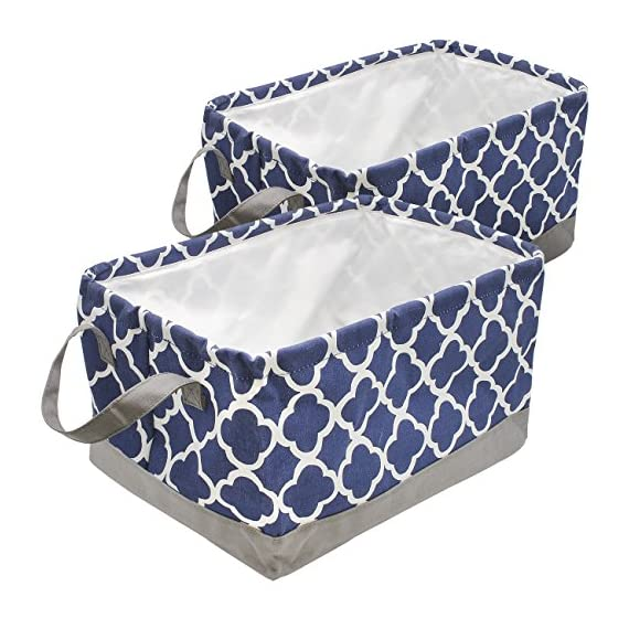 Sorbus Storage Basket Bin Set, Collapsible Rectangular Fabric Storage Organizer Basket with Drawstring Closure & Carry Handles for Laundry, Toys, Clothes, and More, 2-Pack (Blue Pattern) - STORAGE BASKET BINS (2-PACK, BLUE/WHITE) - Collapsible basket set with drawstring closure provides attractive, lightweight solutions to many storage needs while keeping household items tidy and organized STORE & ORGANIZE - Perfect storage basket for toys, magazines, books, CDs/, Gadgets, art & crafts supplies, linens, clothes, garments, shoes, baby products, knick knacks, holiday ornaments, etc - Great for home, office, or dorm-room storage, and more VERSATILE FOR ANY ROOM - Adds splash of color to any room while being functional and trendy - Ideal storage baskets with kids in mind for playroom, nursery, daycare - Versatile for family room, laundry area, bedroom, closet, car, organizer in closet, home office, craft room, etc - Can be used as toy bins or shelf baskets for cube storage organizer shelves, cubbies, bookcase , desk, or floor - living-room-decor, living-room, baskets-storage - 51N6IpkJ3DL. SS570  -