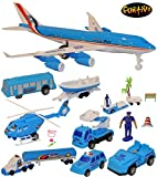 FUNTIVO 15PC Helicopter and Airplane Playset, Airplane Toy for Kids, (Assorted Styles) Blue