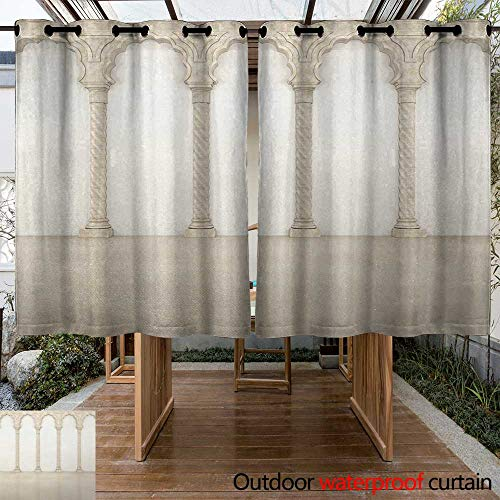 Onefzc Outdoor Curtain Panel for Patio Pillar Architecture Theme Wall with Graceful Columns and Arches Digital Image Print for Porch&Beach&Patio 72