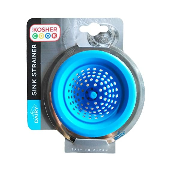 Kitchen Sink Strainer - Durable Silicone - Large Wide Rim - Drains Water Fast and Efficiently - Color Coded Kitchen Tools by The Kosher Cook 1 THE BEST CLEANING PRODUCTS: Remove tough stains from your pots, pans, and countertops with absolute efficiency using our wide assortment of cleaning items fit to get the job done. COLOR CODED KOSHER UTENSILS: Made to make life easier in the Jewish home, separate dairy, meat and parev products with ease color coded and labeled blue, red and green kitchen tools. USEFUL ALL AROUND THE HOUSE: Clean up any mess in the kitchen, bathroom, living room, dining room, anywhere you need as our cleaning products are lightweight and versatile for any situation.