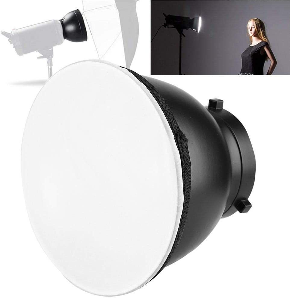 Huakii 7inch Standard Reflector Monolights Speedlites Standard Cover with Soft Diffuser Cover
