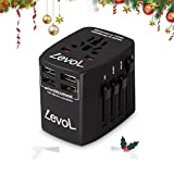 Levol 4 USB Travel Adapter Fast Charging 1840w Power Converter Plug for USA EU UK AUS & Asia, Great for iPhone , Galaxy S Series, Power Bank, Laptops, iPad, Good Gift