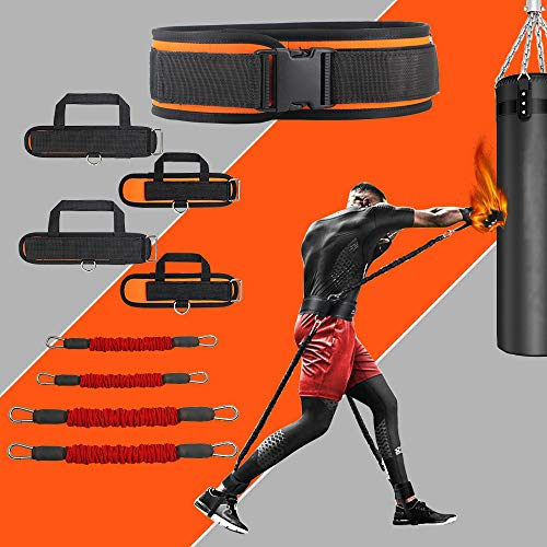 KIKIGOAL MMA Boxing Training Resistance Band Set Enhance Explosive Power Strength and Agility Training Equipment for Muay Thai,Karate Combat,Fitness,Basketball,Volleyball,Football Vertical Jump