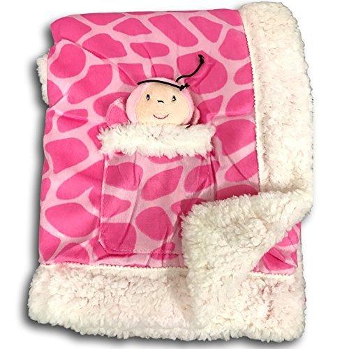 Animal Print Velour Blanket - Metta Baby Blanket Animal Giraffe Print Velour Sherpa Faux Sheep Fur Pink Girls Plush Toy in Pocket 30 by 40