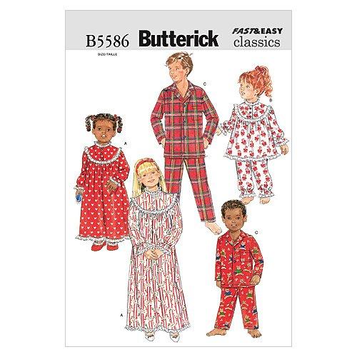 Butterick B5586 Children'/Girls'/Boys' Nightgown, Top and...