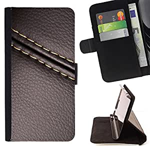 For Sony Xperia Z5 compact / mini Stitch Leather Brown Texture Style PU Leather Case Wallet Flip Stand Flap Closure Cover