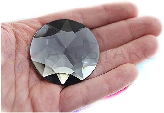 Black Diamond H136 KraftGenius Allstarco 50mm Extra Large Self Adhesive Round Jewels Acrylic Rhinestones Stick On Plastic Gems for Cosplay 2 Pieces