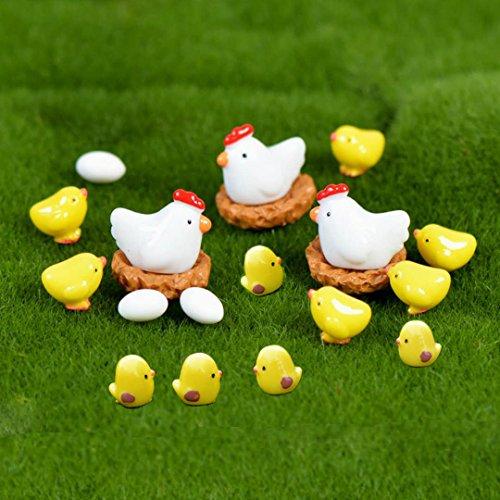 20 Pcs Miniature Fairy Garden Chickens,Plant Pots Bonsai Craft,Chicken Nest Ornament Micro Landscape DIY - Chinese Figurine Fisherman