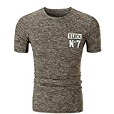 Men's Summer Slim Fit Casual Short Sleeve Letter Printed T Shirt Top Blouse