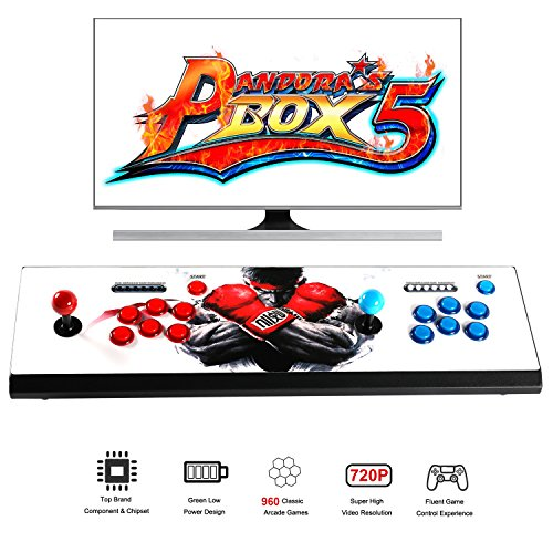 Easyget LED 2 Player Arcade Game Console with Pandora's Box 5 960 Games Video Game Machine Support 720P HDMI & VGA Output Support TV Set / LCD Monitor / Projector / Plug & Play Red + Blue Color