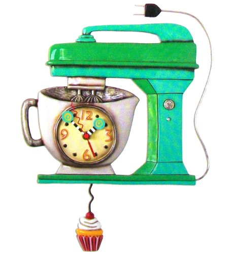 Allen Design Studios Vintage Mixer Green Mixer Kitchen Wall Clock