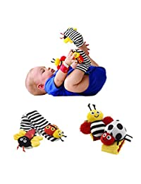 Kamat® 4 X Baby Infant Soft Toy Wrist Rattles Hands Foots Finders Developmental