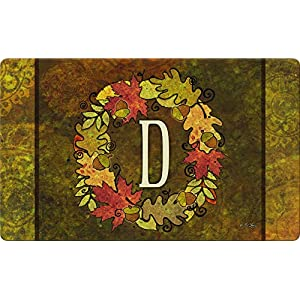 Toland Home Garden Fall Wreath Monogram D 18 x 30 Inch Decorative Autumn Floor Mat Colorful Leaves Doormat 117