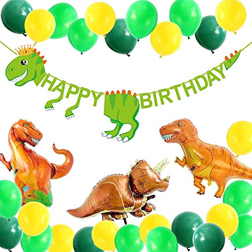 (Dinosaur Party Supplies-49 Packs Decorations for Dino Birthday Party-Dinosaur Happy Birthday Banner, 33-Pack Dinosaur Balloons, Dinosaur Birthday Party Favor Supplies. )
