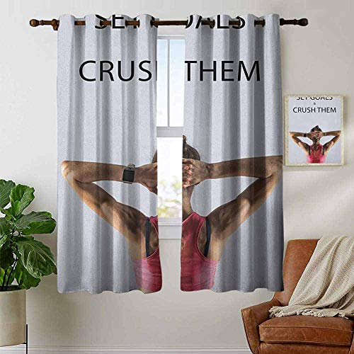Curtains for Bedroom Fitness,Athletic Model Woman Back View Set Goals and Crush Them Fit Female Body Form, Beige Pink Black Curtain Panels for Bedroom & Kitchen,1 Pair 42
