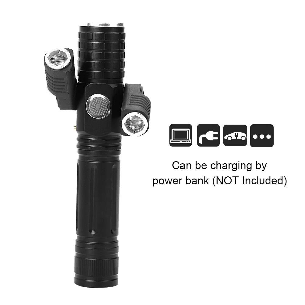 recargable 1 # foco ajustable emergencia Mini USB resistente al agua Linternas LED linterna de mano para acampar al aire libre y caminatas