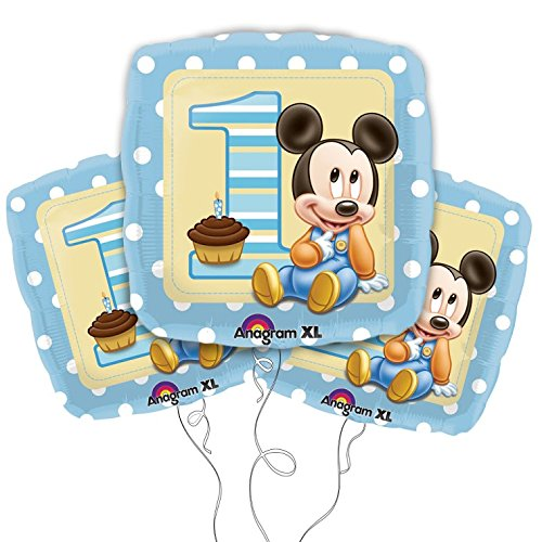 Mickey Mouse 1st Birthday 18 Inch Square Mylar Balloons 3pk