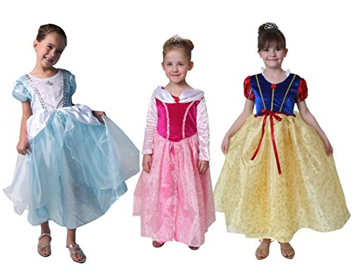 Deluxe Storybook Princess Costumes (Deluxe Storybook Wishes Princess Dress 3 Pack Set (Choose Color and Size) (6/8, Light Blue, Pink and Red / Yellow))