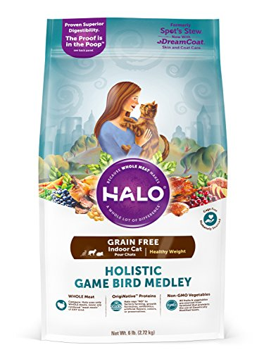 Halo Holistic Healthy Weight Dry Cat Food for Indoor Cats, Grain Free Game Bird Medley, 6 LB Bag of Indoor Cat Food