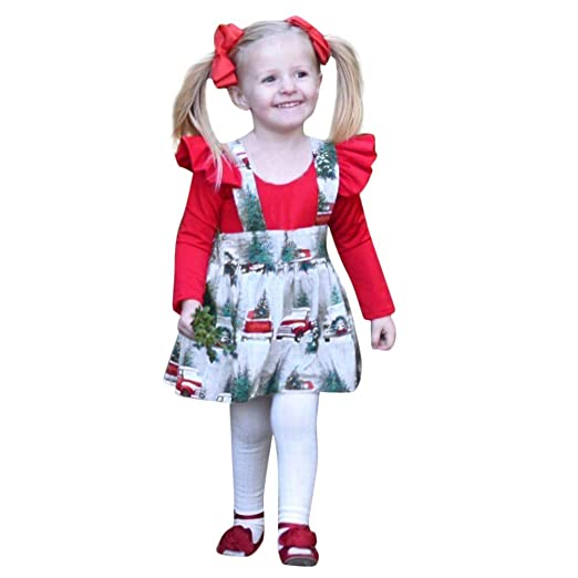 d22530e3a Kehen Girl Christmas Dress Kid Toddler Girl Autumn Winter Clothes Xmas  Holiday Set 2pc Solid Romper