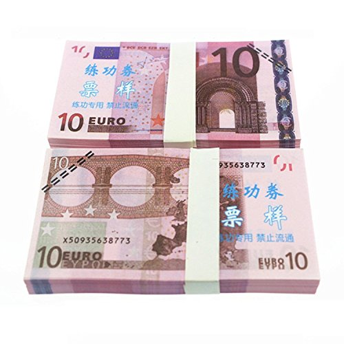 Euro $10X100 Pcs Total $1,000 Dollar Currency Props Money Bills Real Looking New Style Copy Double-Sided Printing - for Movie, TV, Videos, Advertising & Novelty (Best Pc For 1000 Euros)