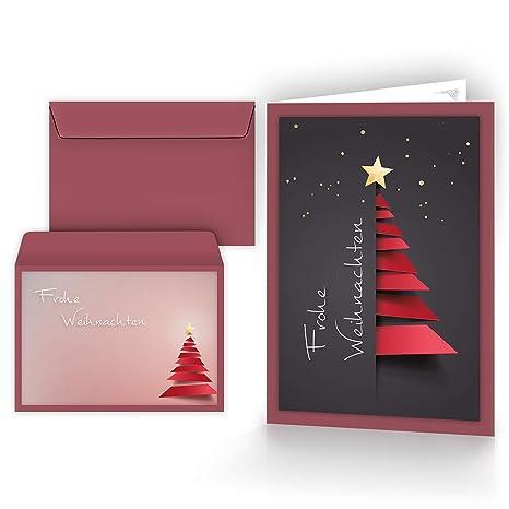 Einfache Weihnachtsgrüße.Weihnachtskarten Mit Umschlägen 15er Set Klappkarten Mit Weihnachtsbaum Motiv Für Die Schönsten Weihnachtsgrüße Frohe Weihnachten