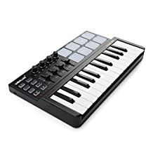 Worlde Portable 25 Keys USB Keyboard MIDI Controller with Drum Pad