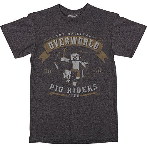 - JINX Minecraft Pig Riders Boys' Tee Shirt (Charcoal Heather, Small)