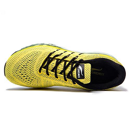 Onemix Zapatos para Correr en Montaña y Asfalto Aire Libre y Deportes Zapatillas de Running Padel para Hombre Amarillo