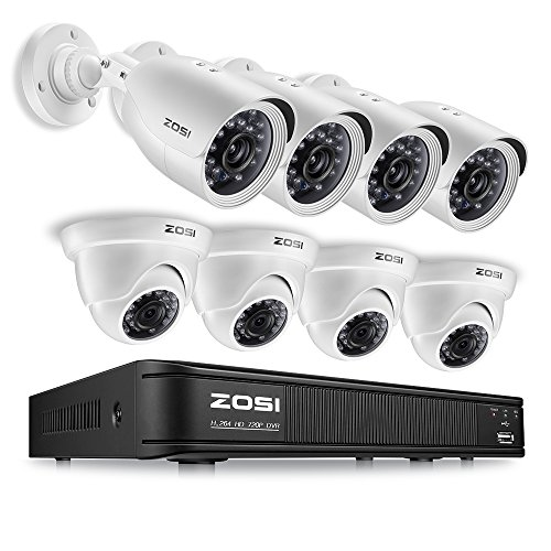 ZOSI FHD Home Security Camera System Indoor Outdoor, 1080p Lite CCTV DVR Recorder 8 Channel and (8) 720p Weatherproof Surveillance Bullet Camera, Remote Access, Motion Detection (No Hard -
