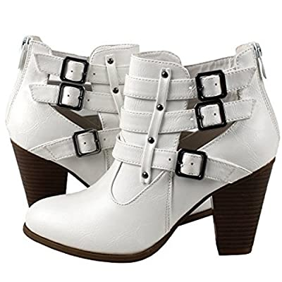 Guilty Shoes - Strappy Chunky Heel Ankle Bootie Boots
