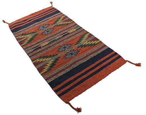 Onyx Arrow Southwest Décor Area Rug, 20 x 40 Inches, Pueblo Pattern Rust/Multi