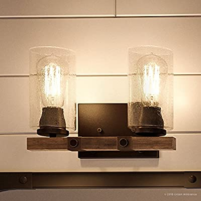 "Luxury Vintage Bathroom Vanity Light, Medium Size: 8""H x 13.375""W, with Modern Farmhouse Style Elements, Olde Bronze Finish, UHP2080 from the Darlington Collection by Urban Ambiance"