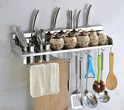 Multipurpose Kitchen Utensils Holder Organizer 23.5 inch Wall Mounted Pan Pot Rack,Spice Rack, Spoon Ladle Hanger,Knife block,Towel rack,Silverware caddy Stainless Steel by LOUHO
