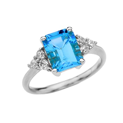 c265754afb3e8 Fine 10k White Gold Emerald Cut Blue Topaz Proposal/Promise Ring with White  Topaz